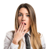 Young businesswoman doing surprise gesture over white background  — 图库照片