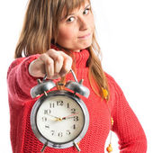 Young Girl holding an antique clock over white background  — Stock Photo