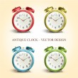 Set of colorful vintage table clocks over white background — Stock Vector #47874865