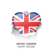 UK heart inside hole paper over white background — ストックベクタ
