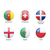 Set of flag button over isolated white background  — ストックベクタ