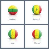 Set of soccer ball over white background — Stock Vector