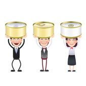 Business people with can of tuna over white background  — Stock Vector