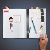 Empresário com quadro impresso em livro — Vetor de Stock