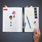 Businessman with USA bulb printed on book — ストックベクタ