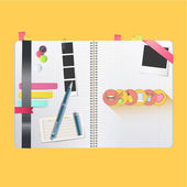 Colorful and simple icons printed on book  — Vettoriale Stock