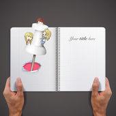 Kids around pushpin printed on book — Stok Vektör