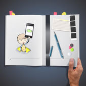 Kid holding Phones printed on book — Stockvektor