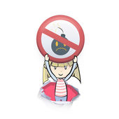 Kid holding prohibited sign of bomb. Vector background design  — Stockvektor