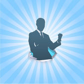 Silhouette of business man winner. Vector design.  — Stockvektor