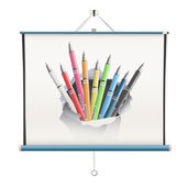 Projector screen with pencils over white background — Stock Vector