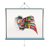 Projector screen with big flag over white background — Stock Vector