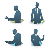 Set of silhouette of businessman. Vector design.  — Stock Vector