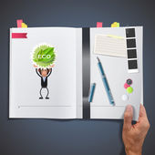 Business people with ecological icons printed on book — ストックベクタ
