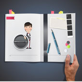 Business people with icon web printed on book — Stock vektor