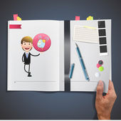 Business people with icon web printed on book — Stockvektor