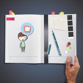 Dziecko gospodarstwa ikona tkanina drukowana na książki. — Wektor stockowy