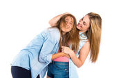 Friends playing over white background — Stock Photo