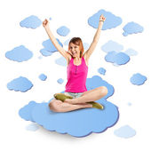 Lucky woman on cloud white background  — Stock Photo
