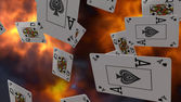 Letters of poker on fire — Stock Photo