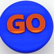 3d button blue go power — Stock Photo
