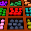 Colored balls in box — Stock Photo