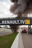 EUROCUP MEGANE TROPHY. Burning car — Stock Photo
