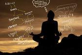 Yoga woman and Business plan — Stock Photo