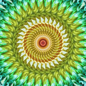 Abstract green floral kaleidoscope — Stockfoto