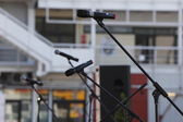 Microphone on music stage — Stock Photo