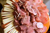 Sliced smoked meat and cheese — Stock Photo
