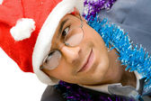 Drunk Christmas man — Stock Photo