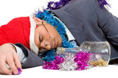 Drunk man on christmas — Stock Photo