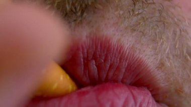 Man's mouth macro - smoking — Vídeo de stock