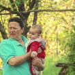 Grandmother and granddaughter enjoying in nature — Stock Video
