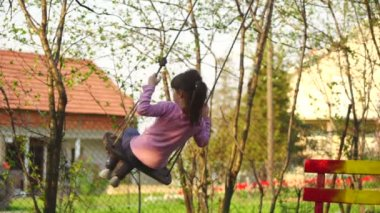 Girl swinging on a rope swing in nature — Stock Video