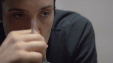 Depressed Man Smoking A Cigarette — Stock Video