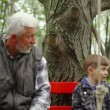35mm camera - young boy with his grandfather enjoying in nature — Stock Video