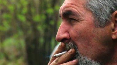 Bearded man smoking — Stock Video