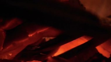 Real fire, close-up. Flames and ember! — Stockvideo