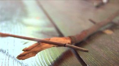 Incense stick burning laying on a wooden branch — Stock Video