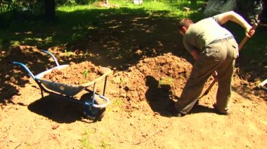 Young man digging in his backyard. — Stock Video