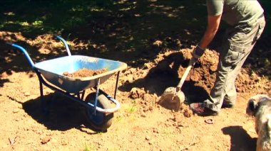 Man digging and filling a cart wheel — Stock Video