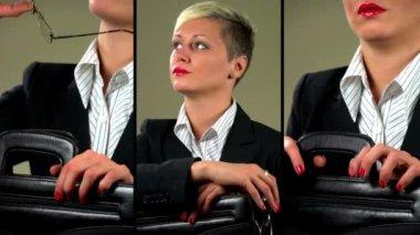 Sexy businesswoman flirting with camera — Stock Video