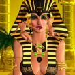Close up face of pharaoh queen with makeup being applied. — Stock Photo #30695587