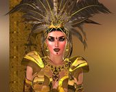 Feather Warrior Woman in gold armor. — Stock fotografie