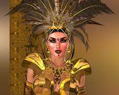 перо воин женщина в золотых доспехах. — Стоковое фото