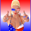 Samantha Wants You! Like uncle Sam, only considerably more attractive, this fun loving blond points her fingers at you and is ready for the party to begin. — Stock Photo