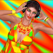 An abstract background of red, yellow,green and turquoise set the party for this DJ music lover girl to dance wearing headphones. Her makeup matches the background for added fashion and fun. — Stockfoto