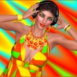An abstract background of red, yellow,green and turquoise set the party for this DJ music lover girl to dance wearing headphones. Her makeup matches the background for added fashion and fun. — Stock Photo
